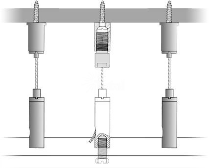 Track Lighting Suspension Cable Glider and Screw Fittings