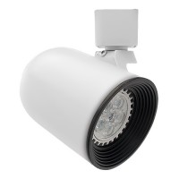 GU10 MR16 WHITE round back Black baffle track light fixture head 3-wire H-style